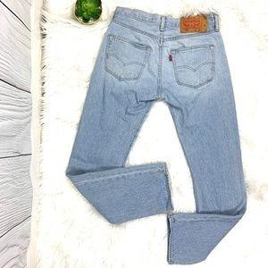 Levi's 501 Light Wash Straight Leg High Rise Jean
